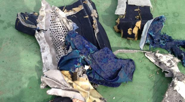 A photo from the Facebook page of the Egyptian armed forces shows debris recovered from EgyptAir flight 804
