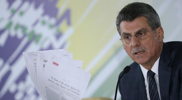 Romero Juca at a press conference about a leaked phone recording at his offices in Brasilia (AP)