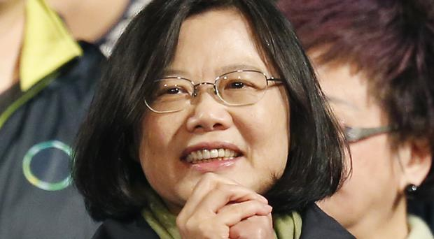 Tsai Ing-wen thanks supporters as she celebrates winning the presidential election in Taipei (AP)