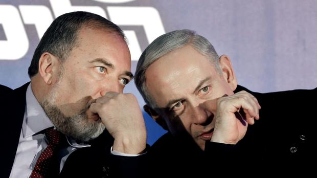 File photo of Israel's prime minister Benjamin Netanyahu, right, and Avigdor Lieberman who has been appointed defence minister (AP)