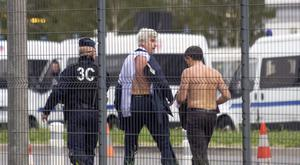 Air France directors Xavier Broseta and Pierre Plissonnier with their shirts ripped (AP)