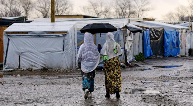 Migrants in the Jjungle camp in Calais, France
