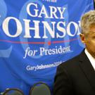 Libertarian presidential candidate Gary Johnson speaks to supporters at the party convention, in Orlando, Florida (AP)