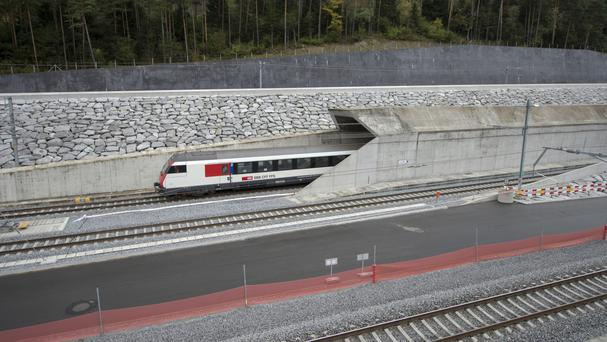 The Gotthard Base tunnel is the world's longest train tunnel (Urs Flueeler/Keystone via AP)