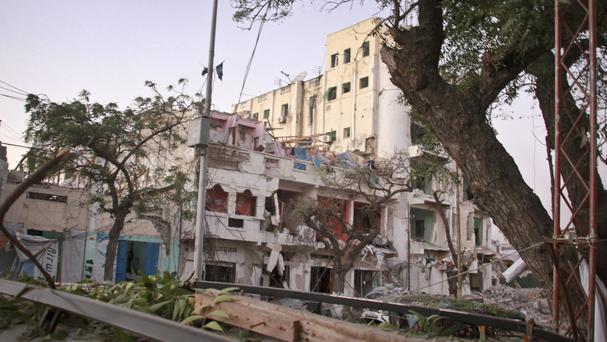 The scene of a bomb attack on an hotel in Mogadishu, Somalia (AP)