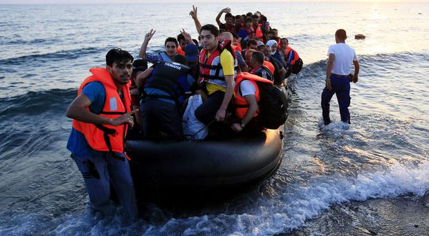 Migrants and refugees arrive at Psalidi near Kos Town, Kos, Greece