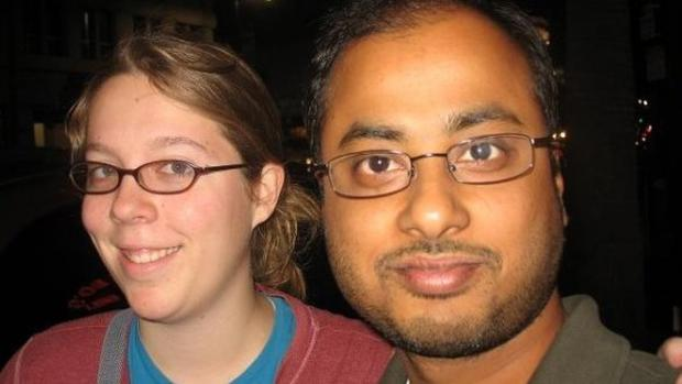 An undated photo of Ashley Hasti and Mainak Sarkar, who, records show, married in 2011 (Facebook/AP)