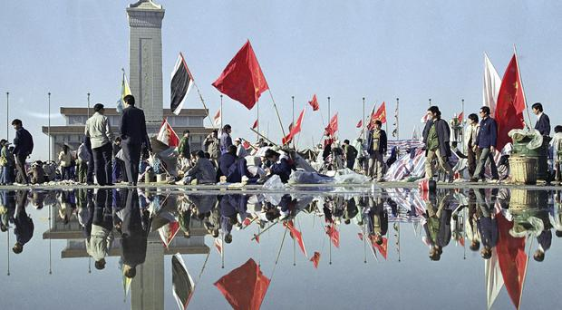 Student-led pro democracy protesters pictured camping out in Tiananmen Square on May 24 1989 (AP)