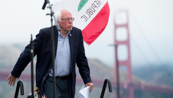 Democratic presidential candidate Bernie Sanders arrives at a campaign rally in San Francisco (AP)