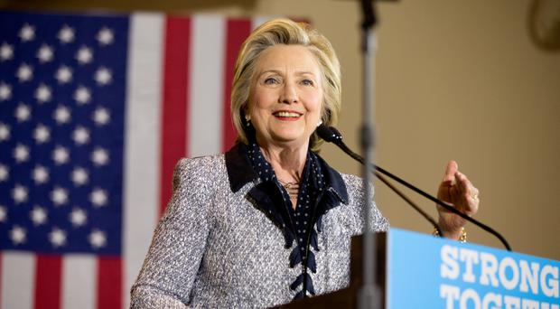 Hillary Clinton speaks at a rally at the International Brotherhood of Electrical Workers Circuit Centre in Pittsburgh (AP)