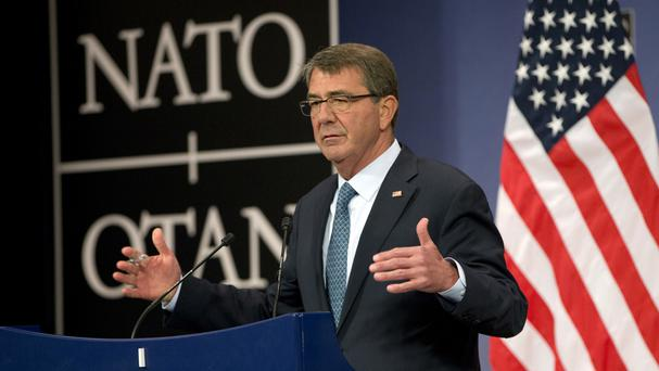 US Secretary of Defence Ash Carter speaks after a meeting of Nato defence ministers in Brussels (AP)