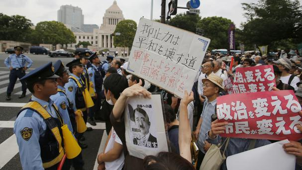 Anti-US base protesters at a rally in Tokyo