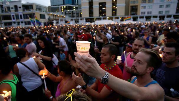 A vigil at Lake Eola Park for the victims of the Orlando nightclub shooting (AP)