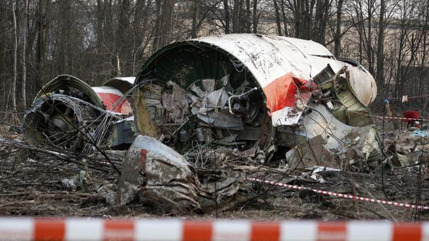 The wreckage of the Polish presidential plane which crashed in Smolensk, western Russia. (AP)