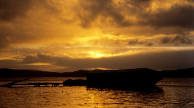 Sunset over Port Stanley, Falkland Islands
