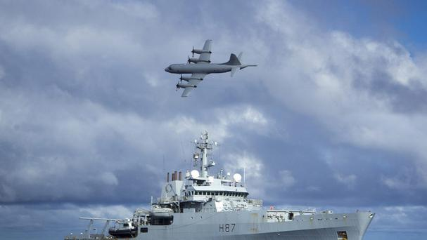 Survey ship HMS Echo and a Lockheed P-3 Orion help search for Malaysia Airlines flight MH370 which went missing in March 2014 (MoD/PA)