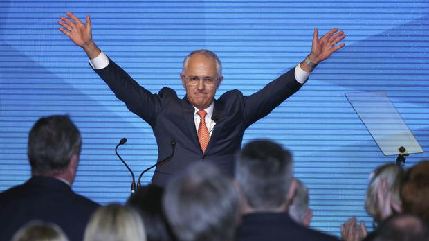 Australian prime minister Malcolm Turnbull at his Liberal Party election campaign launch in Sydney (AP)