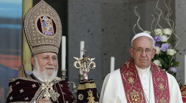Pope Francis, right, during his visit to Armenia