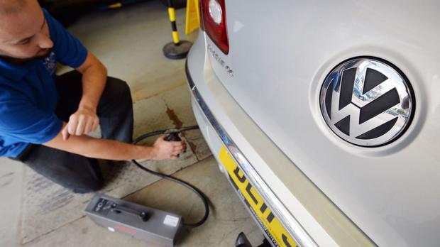 A Volkswagen Passat is tested for exhaust emissions
