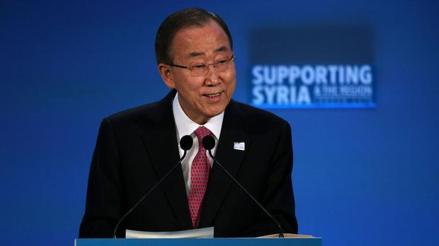 UN secretary general Ban Ki-moon speaks at the Supporting Syria and the Region conference in London