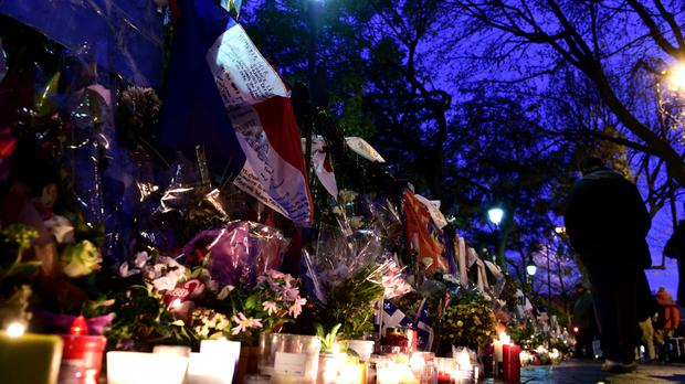 Floral tributes outside the Bataclan Theatre in memory of the victims of the Paris terror attacks