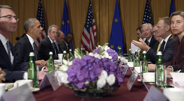 Barack Obama, second left, meets European leaders in Warsaw (AP)
