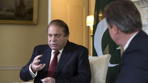 Nawaz Sharif (left) meeting David Cameron in the White Room of 10 Downing Street, London