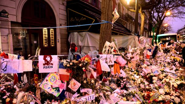 Floral tributes outside the Bataclan Theatre in memory of the victims of the Paris attacks