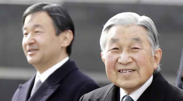 Japan's Emperor Akihito, right, and Crown Prince Naruhito (AP)
