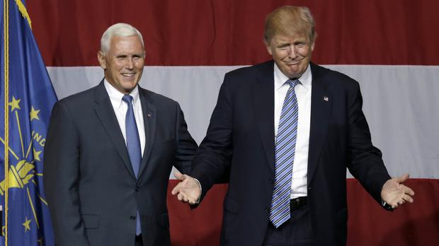 Indiana governor Mike Pence with Republican presidential candidate Donald Trump at a rally in Westfield (AP)