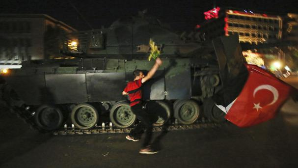 A tank moves into position in Ankara as people attempt to stop the coup attempt (AP)
