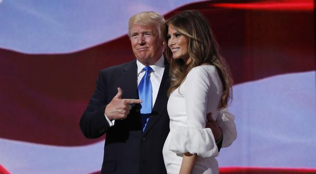 Republican presidential candidate Donald Trump and his wife Melania at the Republican convention in Cleveland (AP)