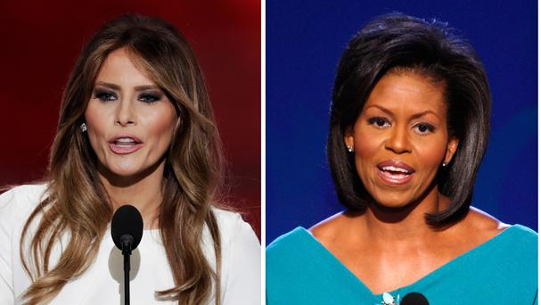 Several phrases used by Melania Trump, left, in a speech to the Republican National Convention were similar to those used by Michelle Obama in 2008 (AP)