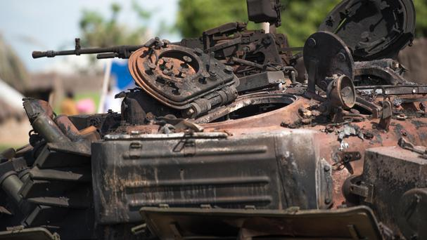 A destroyed tank after fighting between forces of Salva Kiir and Riek Machar in Jabel area of Juba (AP)