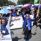 Thousands of demonstrators took part in the march towards Kabul