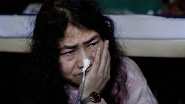 Irom Sharmila by her bed at the Jawaharlal Nehru Hospital (AP)