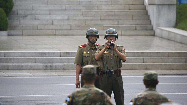 North Korean soldiers at a ceremony marking the 63rd anniversary of the signing of the Korean War ceasefire agreement (AP)