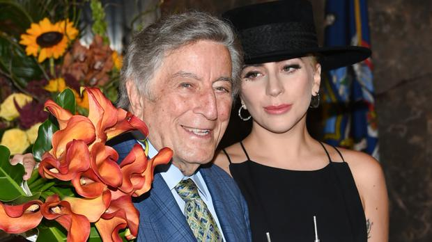 Tony Bennett and Lady Gaga at a ceremony to light the Empire State Building in honour of Bennett's 90th birthday (Evan Agostini/Invision/AP)