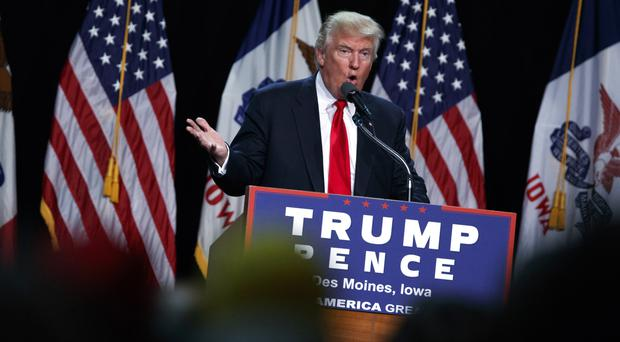 Donald Trump speaking during a campaign rally in Des Moines, Iowa (AP)
