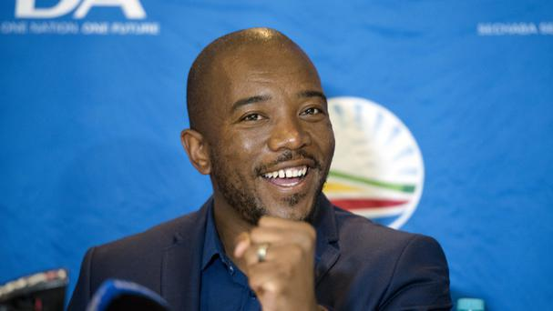 Leader of the official opposition Democratic Alliance Mmusi Maimane talks to the press at the election results centre in Pretoria (AP)