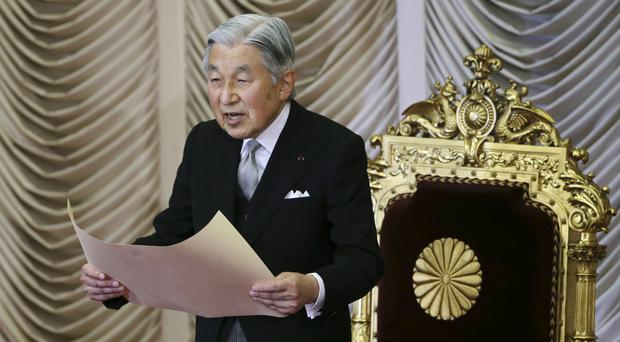 Japan's Emperor Akihito formally opens a session of the upper house of parliament in Tokyo (AP)
