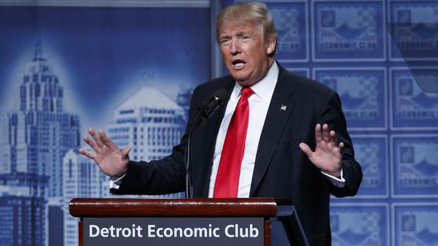 Republican presidential candidate Donald Trump delivers an economic policy speech to the Detroit Economic Club (AP)