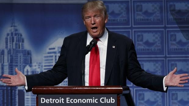 Donald Trump delivers an economic policy speech to the Detroit Economic Club (AP)