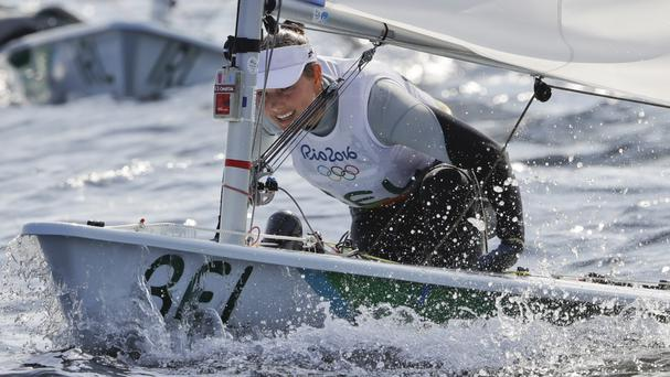 Belgium's Evi Van Acker reported feeling sick after racing in polluted Guanabara Bay (AP)