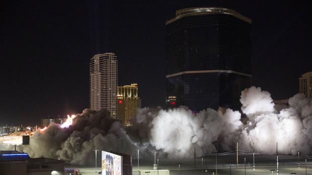 The Riviera casino's Monte Carlo tower and adjacent buildings are imploded in Las Vegas (Steve Marcus/Las Vegas Sun via AP)