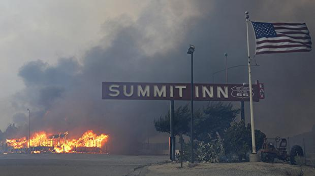 The Summit Inn, a popular roadside diner at the crest of historic Route 66 in Oak Hills, California, burns to the ground (AP)