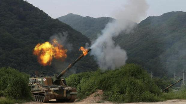 The South Korean army during a military exercise in Yeoncheon, near the border with North Korea (Lim Byung-shick/Yonhap via AP)