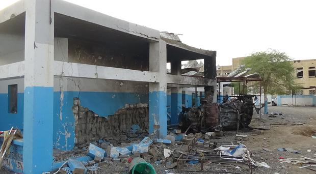 A hospital supported by Doctors Without Borders is seen after was hit by a Saudi-led air strike in the northern town of Abs, Yemen (AP)