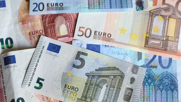 Stock picture of Fifty, Twenty, Ten, and Five euro notes.