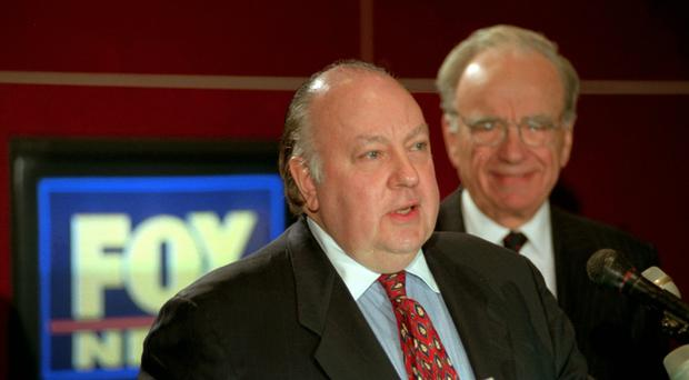 Roger Ailes, left, has been accused of sexual harassment (AP Photo/Richard Drew)